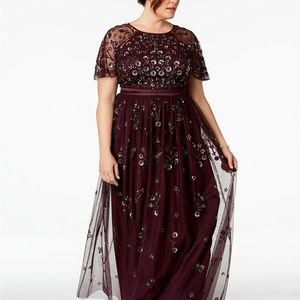 Adrianna Papell Floral-Sequined Gown Nigth Plum